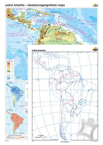 Juzna Amerika Vseobecnogeograficka Mapa Slepa Mapa Duo