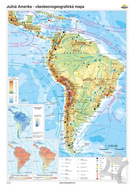 juzna amerika mapa Južná Amerika   všeobecnogeografická mapa (100x140 cm – 1:8200000  juzna amerika mapa