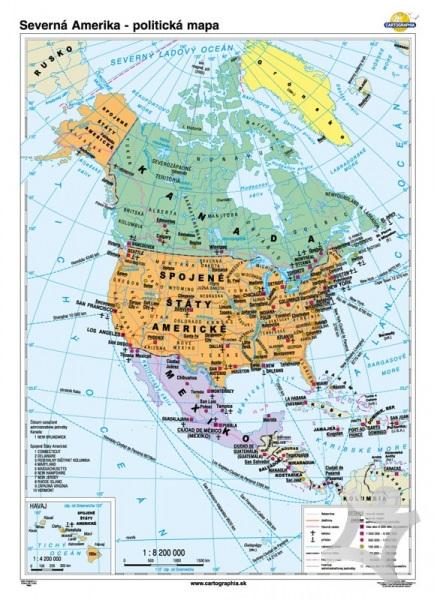 Severna Amerika Politicka Mapa 70x100 Cm Nastenna Foliovana